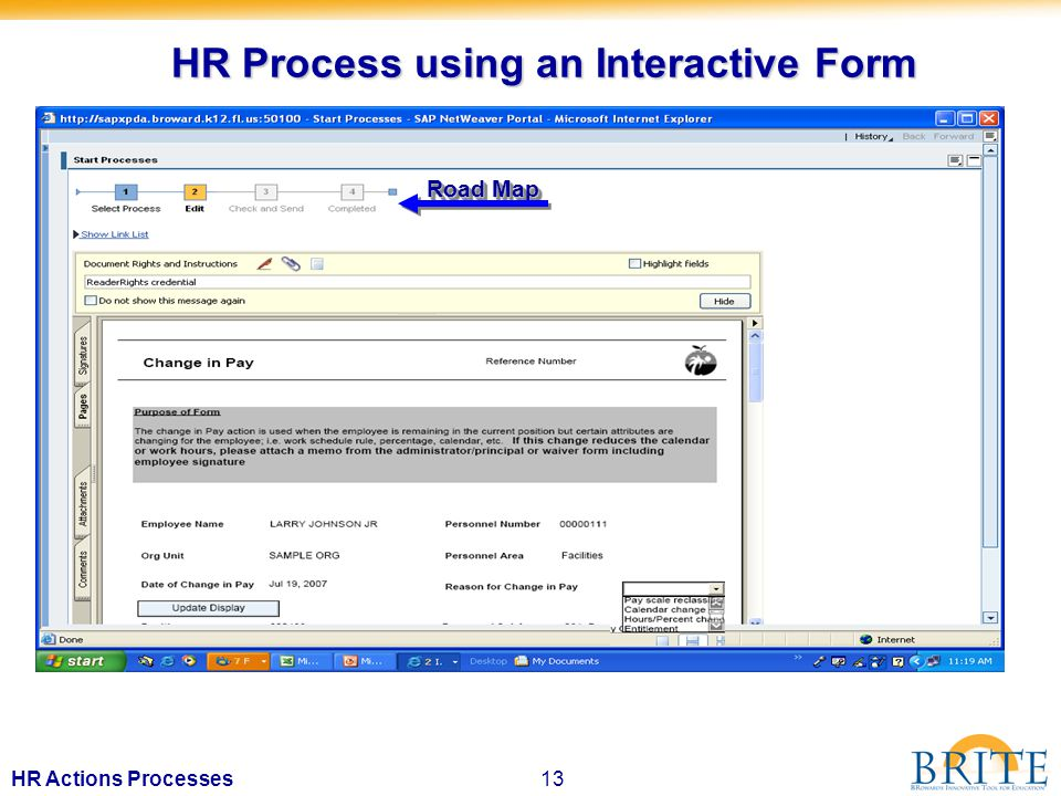 13HR Actions Processes HR Process using an Interactive Form Road Map