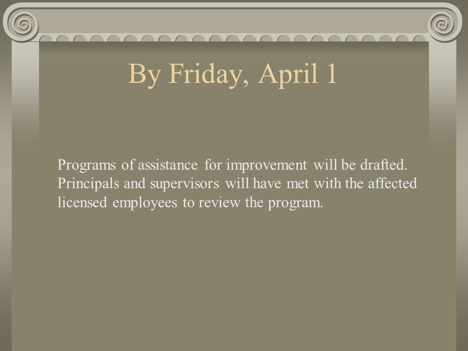 By Friday, April 1 Programs of assistance for improvement will be drafted.