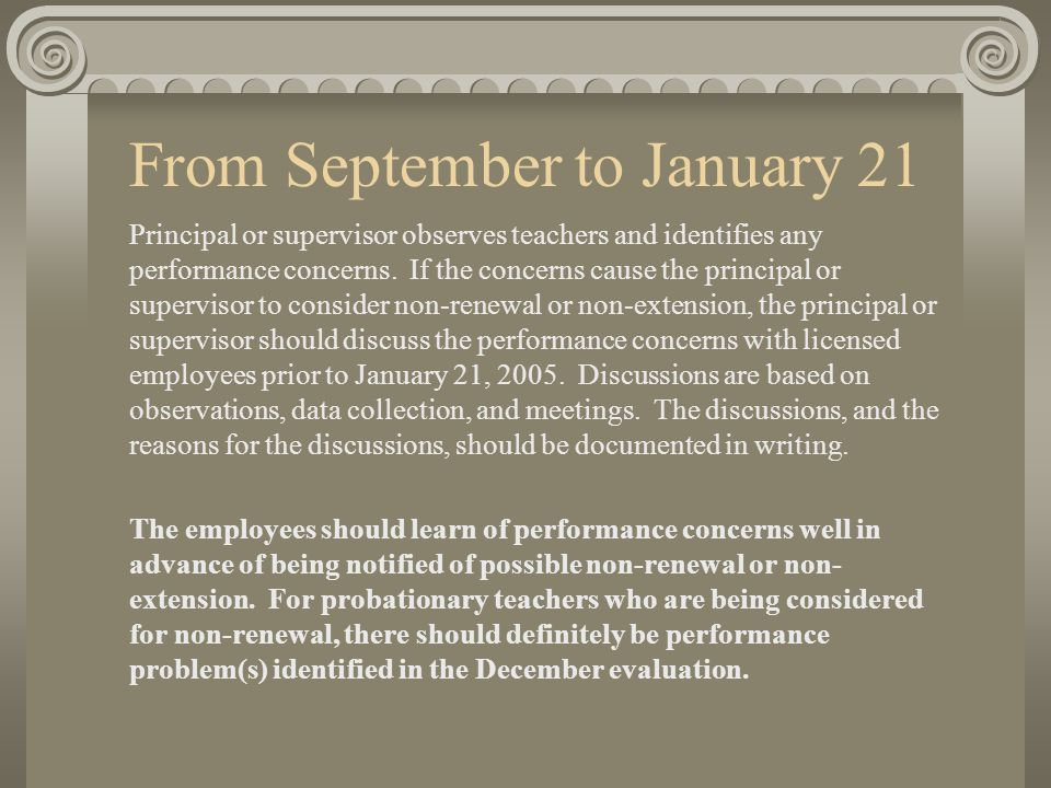 From September to January 21 Principal or supervisor observes teachers and identifies any performance concerns.