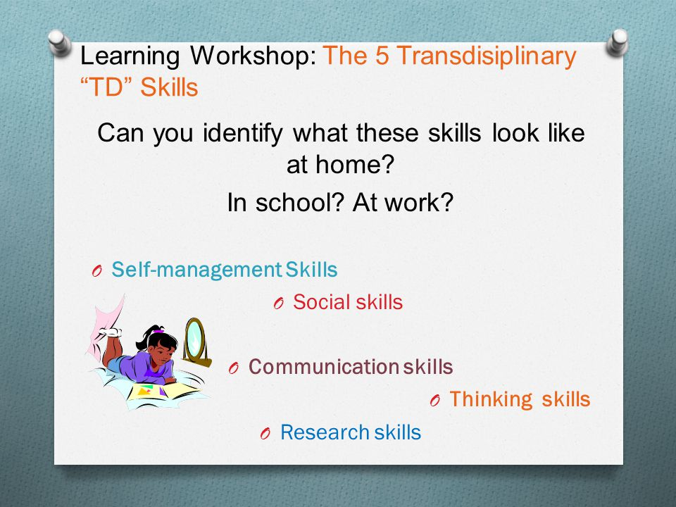 "Learning Workshop: The 5 Transdisiplinary ""TD"" Skills Can you identify what these skills look like at home? In school? At work? O Self-management Skil"