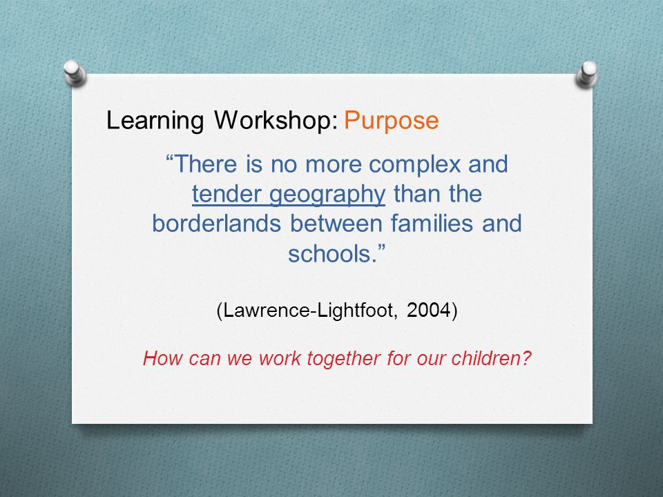 """There is no more complex and tender geography than the borderlands between families and schools."" (Lawrence-Lightfoot, 2004) How can we work together"