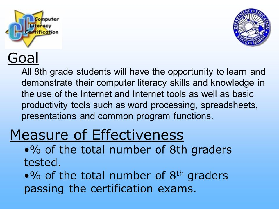 Goal All 8th grade students will have the opportunity to learn and demonstrate their computer literacy skills and knowledge in the use of the Internet and Internet tools as well as basic productivity tools such as word processing, spreadsheets, presentations and common program functions.