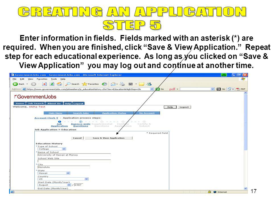 17 Enter information in fields. Fields marked with an asterisk (*) are required.