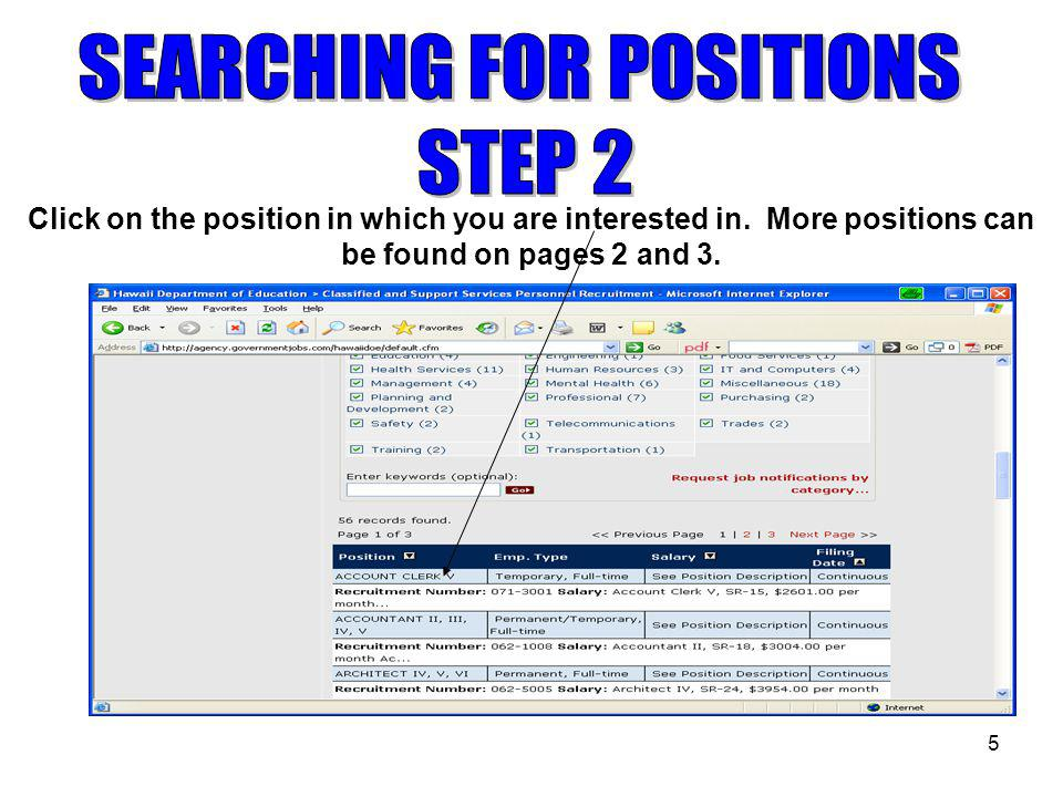 5 Click on the position in which you are interested in.