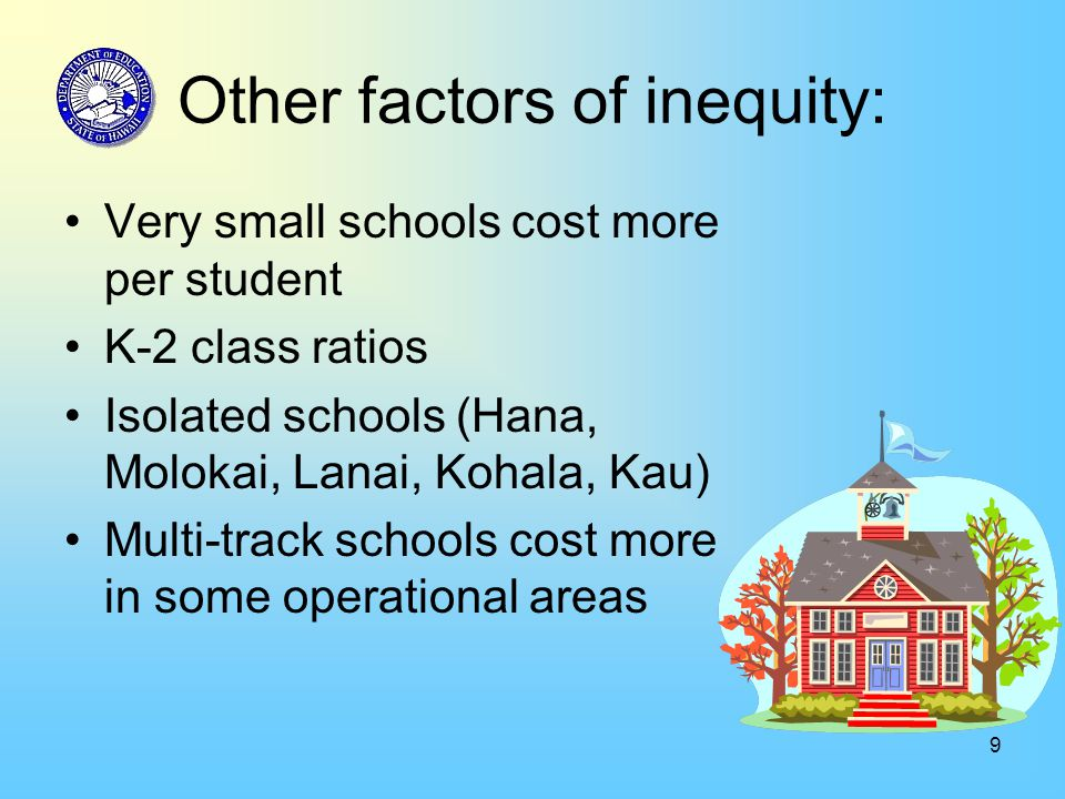 9 Other factors of inequity: Very small schools cost more per student K-2 class ratios Isolated schools (Hana, Molokai, Lanai, Kohala, Kau) Multi-trac