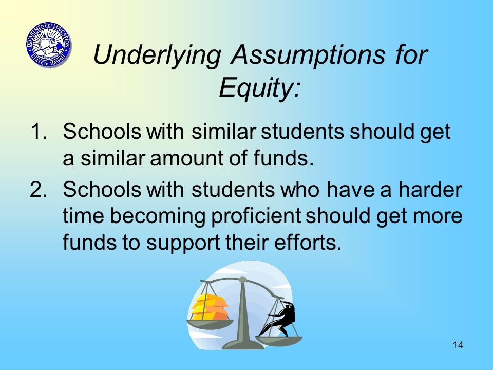 14 Underlying Assumptions for Equity: 1.Schools with similar students should get a similar amount of funds.