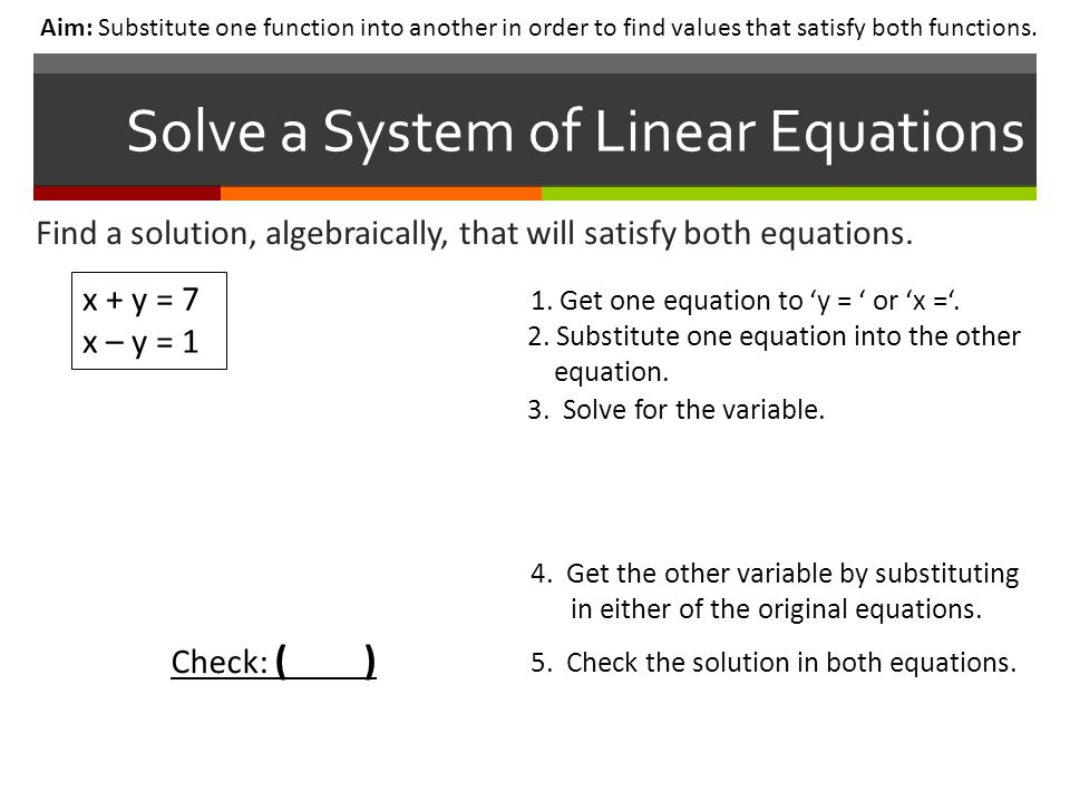 Solve a System of Linear Equations Aim: Substitute one function into another in order to find values that satisfy both functions.