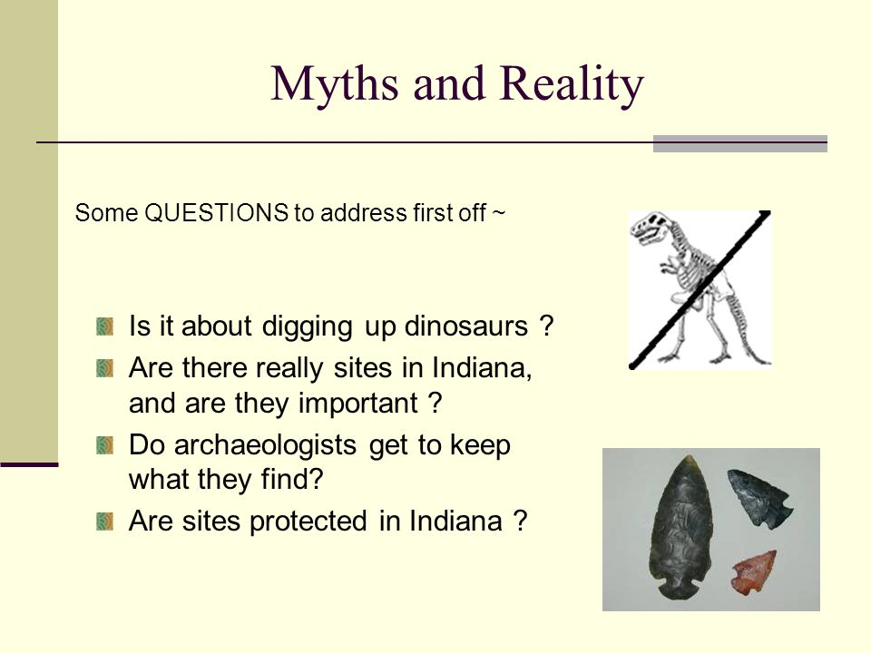 Myths and Reality Is it about digging up dinosaurs .