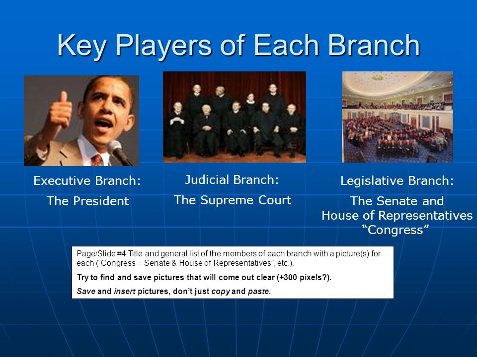 Key Players of Each Branch Judicial Branch: The Supreme Court Executive Branch: The President Legislative Branch: The Senate and House of Representati
