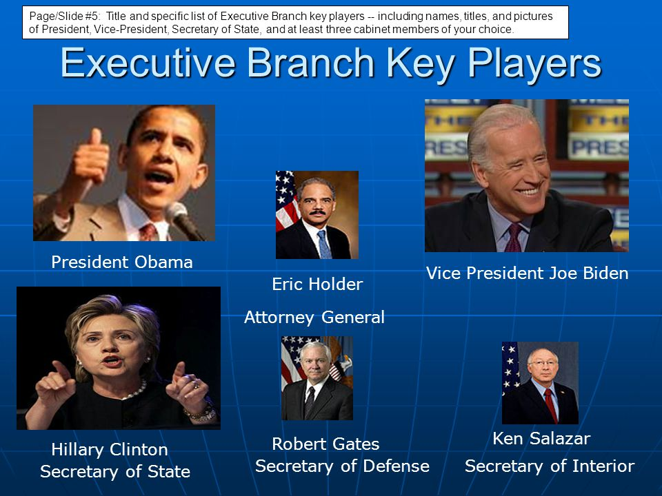 Executive Branch Key Players President Obama Vice President Joe Biden Hillary Clinton Eric Holder Robert Gates Ken Salazar Secretary of State Attorney