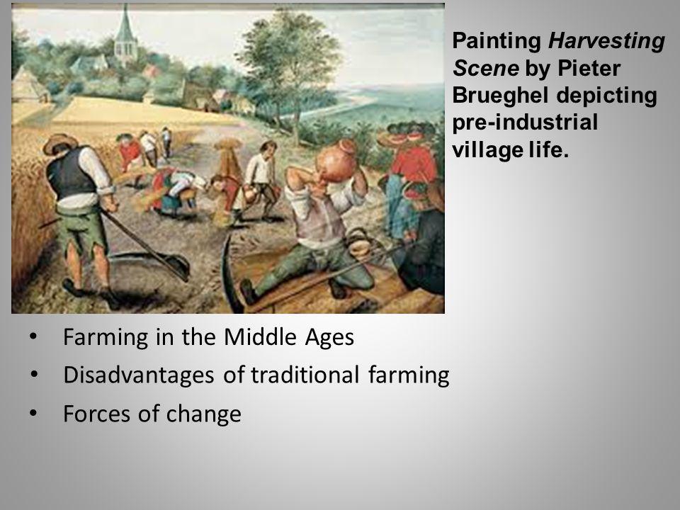 Painting Harvesting Scene by Pieter Brueghel depicting pre-industrial village life.