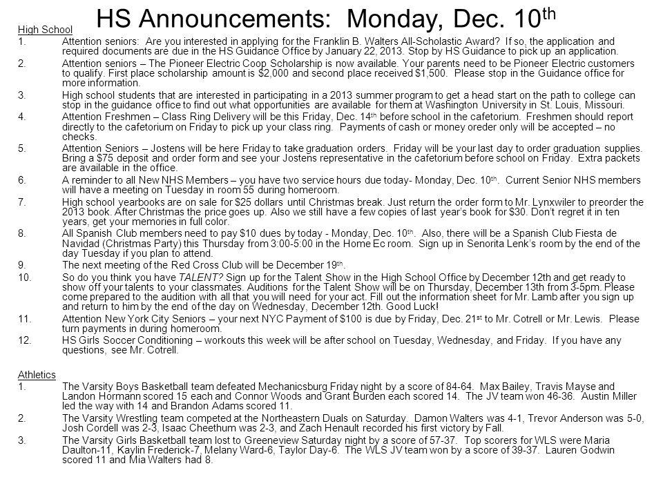 HS Announcements: Monday, Dec.