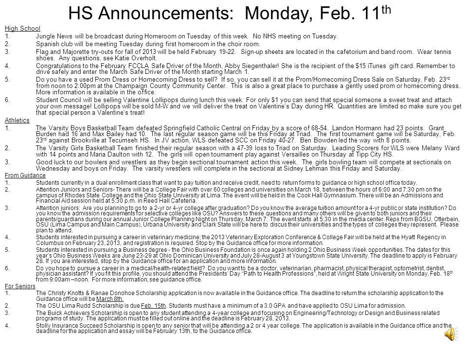 HS Announcements: Monday, Feb.