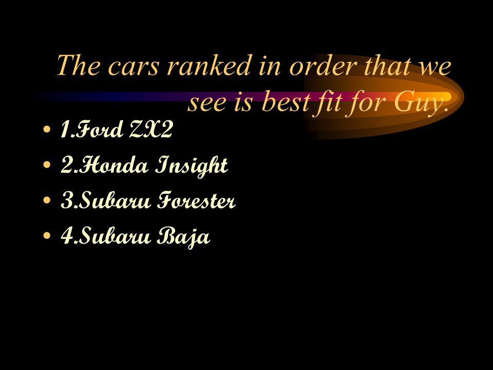 The cars ranked in order that we see is best fit for Guy.