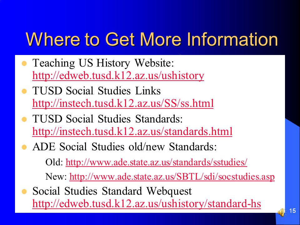 14 Summary Learn the new Standard nomenclature Look at what you are doing/have done and align it to the new Standard Begin to use the new Standard Prepare for next school year