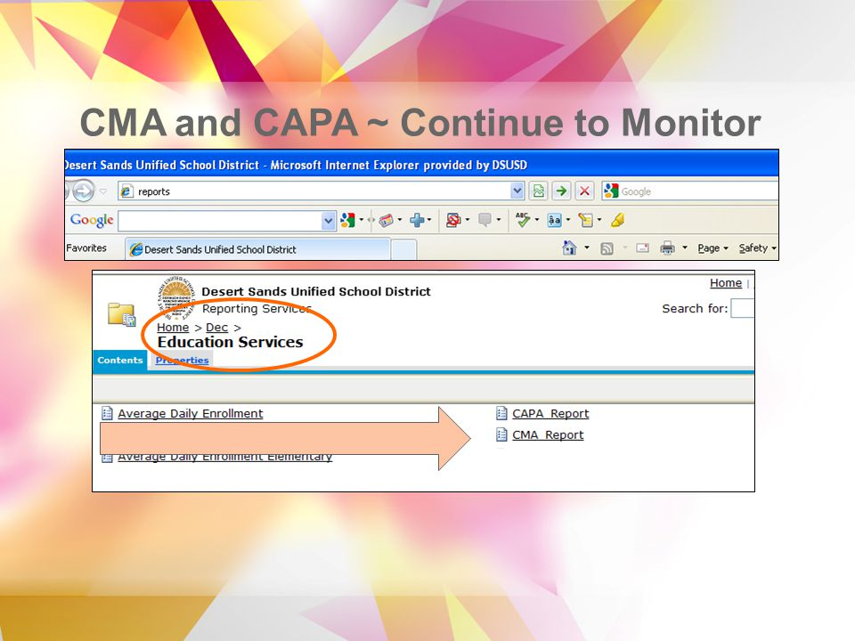 CMA and CAPA ~ Continue to Monitor