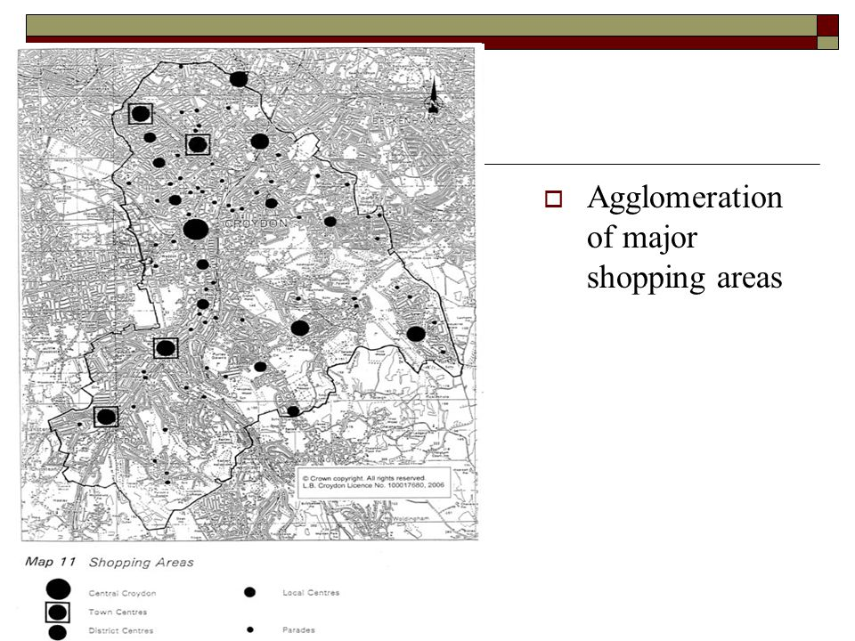  Agglomeration of major shopping areas
