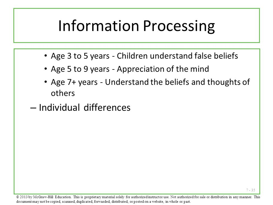 7 - 35 Information Processing Age 3 to 5 years - Children understand false beliefs Age 5 to 9 years - Appreciation of the mind Age 7+ years - Understa