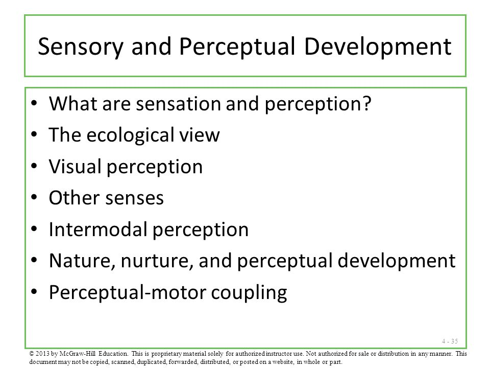 4 - 35 Sensory and Perceptual Development What are sensation and perception? The ecological view Visual perception Other senses Intermodal perception