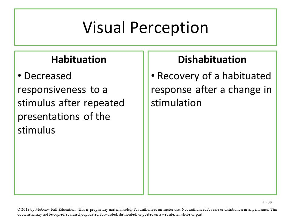 4 - 39 Visual Perception Habituation Decreased responsiveness to a stimulus after repeated presentations of the stimulus Dishabituation Recovery of a habituated response after a change in stimulation © 2013 by McGraw-Hill Education.