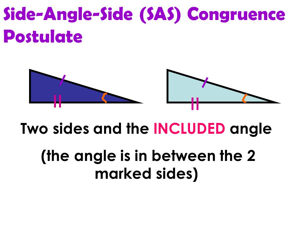 Side-Side-Side (SSS) Congruence Postulate All Three sides in one triangle are congruent to all three sides in the other triangle