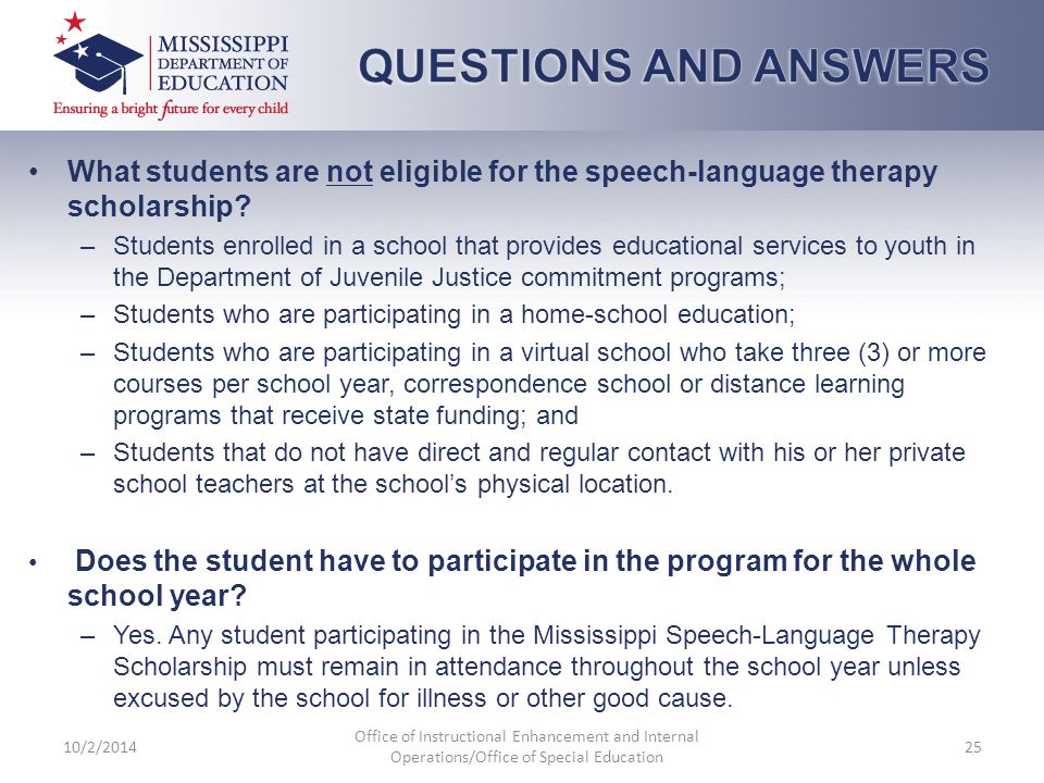 10/2/2014 Office of Instructional Enhancement and Internal Operations/Office of Special Education 25 What students are not eligible for the speech-lan