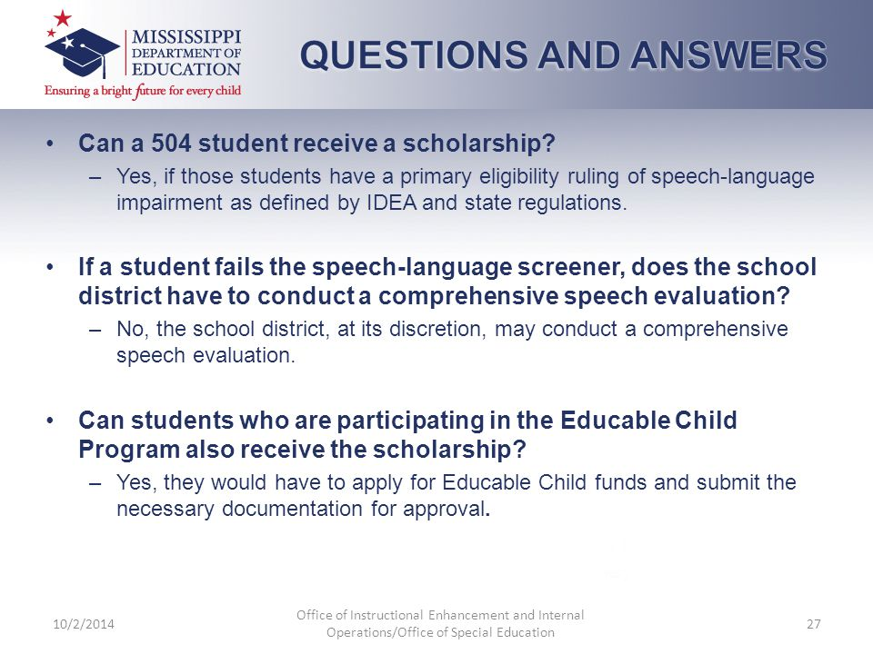 Can a 504 student receive a scholarship.