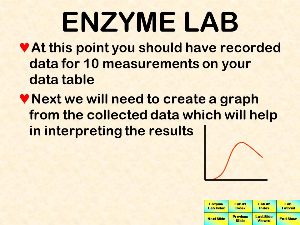Enzyme Lab Index Lab #1 Index Lab #2 Index Next Slide Previous Slide Last Slide Viewed Lab Tutorial End Show MEASUREMENT # 10 Measure and record the pH of the solution by clicking on the pH probe When the timer has buzzed click on the spectrophotometer to measure and record the density Photons 3600 ON 10 pH Two Minutes have elapsed Click To Go To Next Slide You have finished collecting data for experiment #1