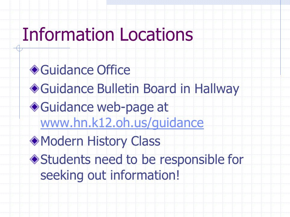 Information Locations Guidance Office Guidance Bulletin Board in Hallway Guidance web-page at www.hn.k12.oh.us/guidance www.hn.k12.oh.us/guidance Modern History Class Students need to be responsible for seeking out information!