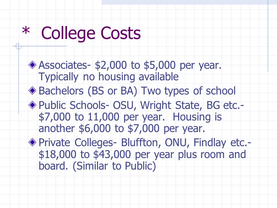 * College Costs Associates- $2,000 to $5,000 per year. Typically no housing available Bachelors (BS or BA) Two types of school Public Schools- OSU, Wr