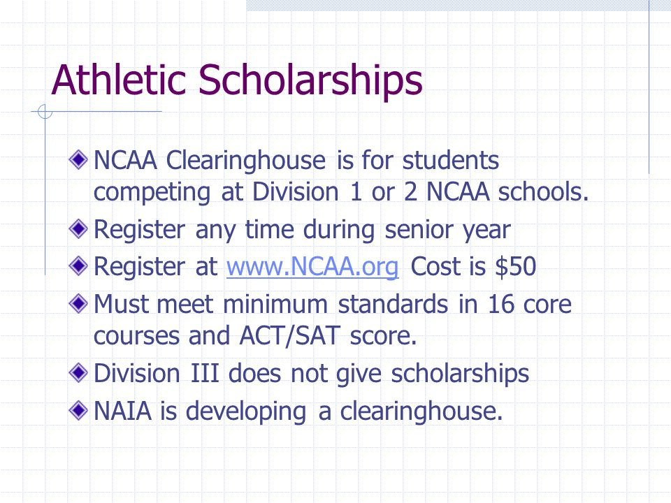Athletic Scholarships NCAA Clearinghouse is for students competing at Division 1 or 2 NCAA schools.