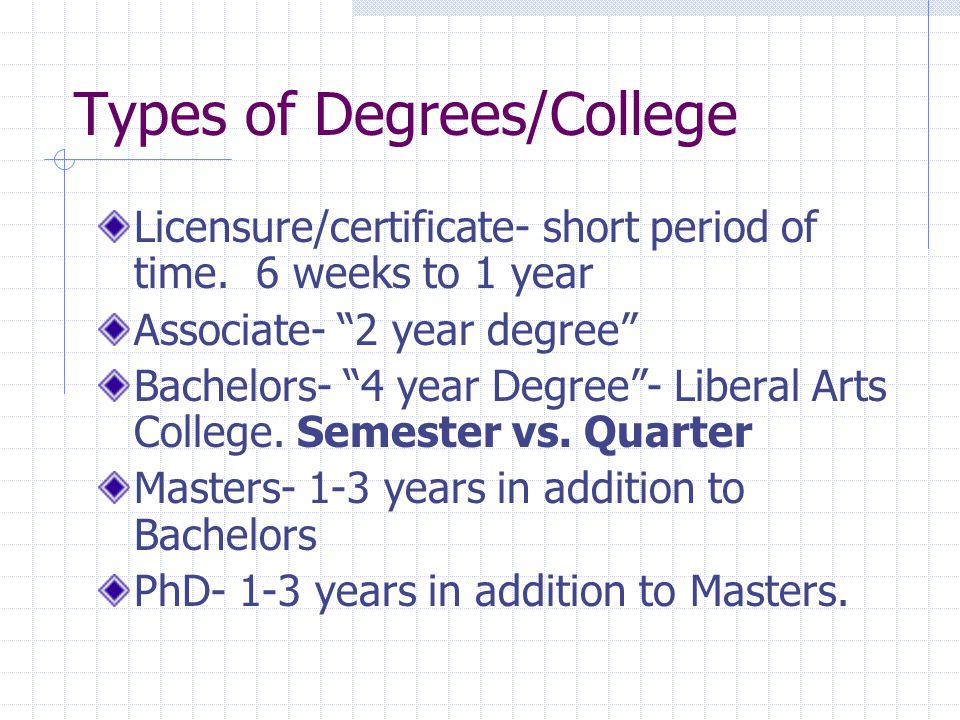 Types of Degrees/College Licensure/certificate- short period of time.