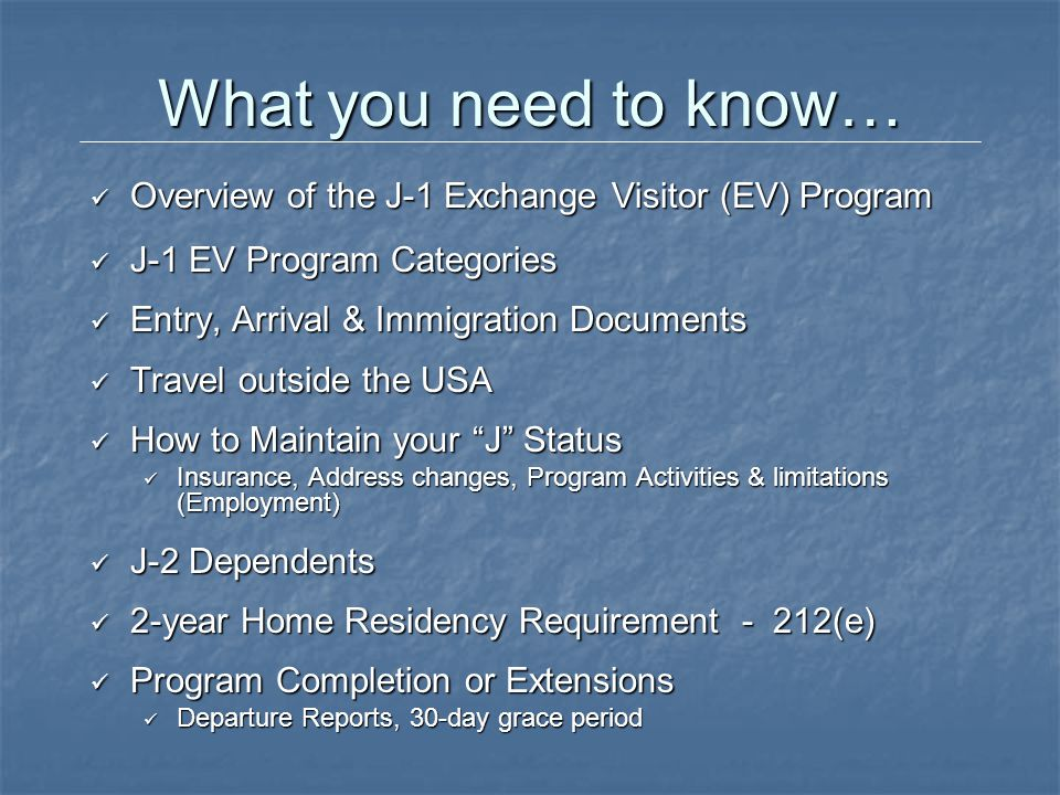 Categories of J-1 Exchange Visitors Academic Government Visitor* International Visitor Professor Research Scholar* Short-Term Scholar* Specialist* Students (College/University) Students (secondary) Teacher (secondary) Private Sector Alien Physician Au Pair Camp Counselor Summer Work/Travel Trainee Note: All categories have different purposes, rules & time limitations.