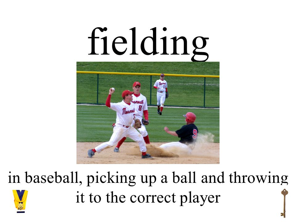 fielding in baseball, picking up a ball and throwing it to the correct player