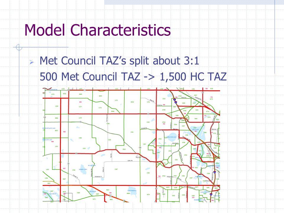 Model Characteristics  Met Council TAZ's split about 3:1 500 Met Council TAZ -> 1,500 HC TAZ