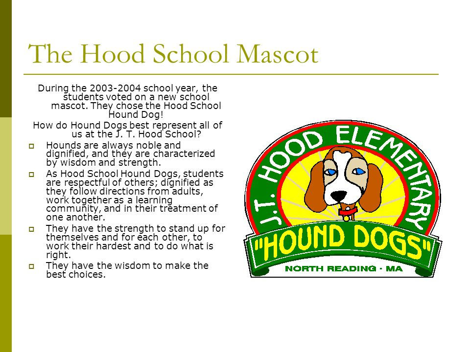 The Hood School Mascot During the 2003-2004 school year, the students voted on a new school mascot. They chose the Hood School Hound Dog! How do Hound
