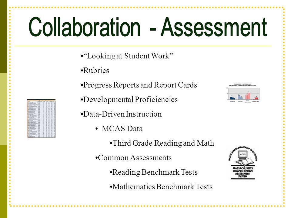 """Looking at Student Work"" Rubrics Progress Reports and Report Cards Developmental Proficiencies Data-Driven Instruction MCAS Data Third Grade Reading"