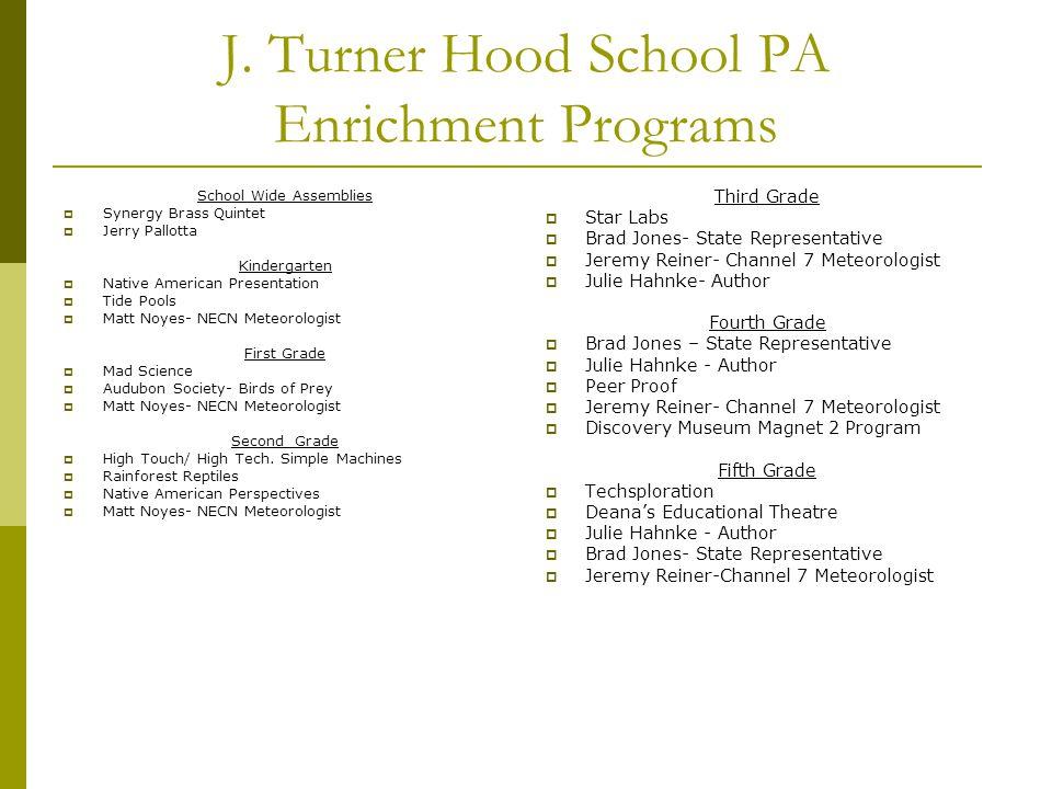 J. Turner Hood School PA Enrichment Programs School Wide Assemblies  Synergy Brass Quintet  Jerry Pallotta Kindergarten  Native American Presentati