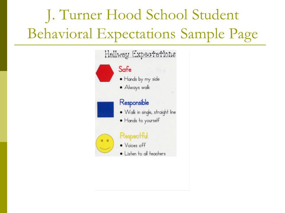J. Turner Hood School Student Behavioral Expectations Sample Page