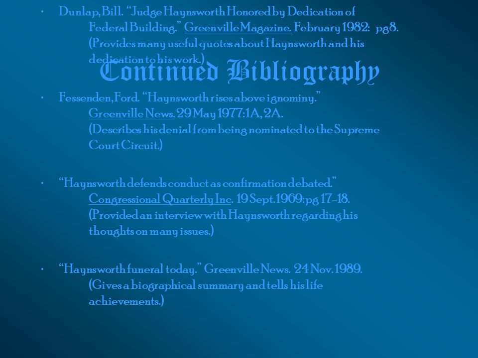 Continued Bibliography Dunlap, Bill.