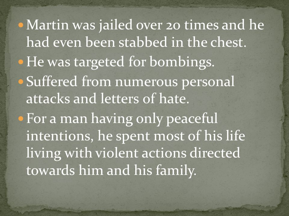 Martin was jailed over 20 times and he had even been stabbed in the chest.