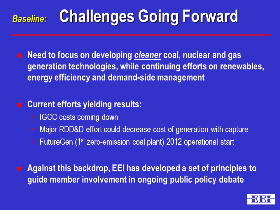 Baseline: Challenges Going Forward n Need to focus on developing cleaner coal, nuclear and gas generation technologies, while continuing efforts on renewables, energy efficiency and demand-side management n Current efforts yielding results: IGCC costs coming down Major RDD&D effort could decrease cost of generation with capture FutureGen (1 st zero-emission coal plant) 2012 operational start n Against this backdrop, EEI has developed a set of principles to guide member involvement in ongoing public policy debate