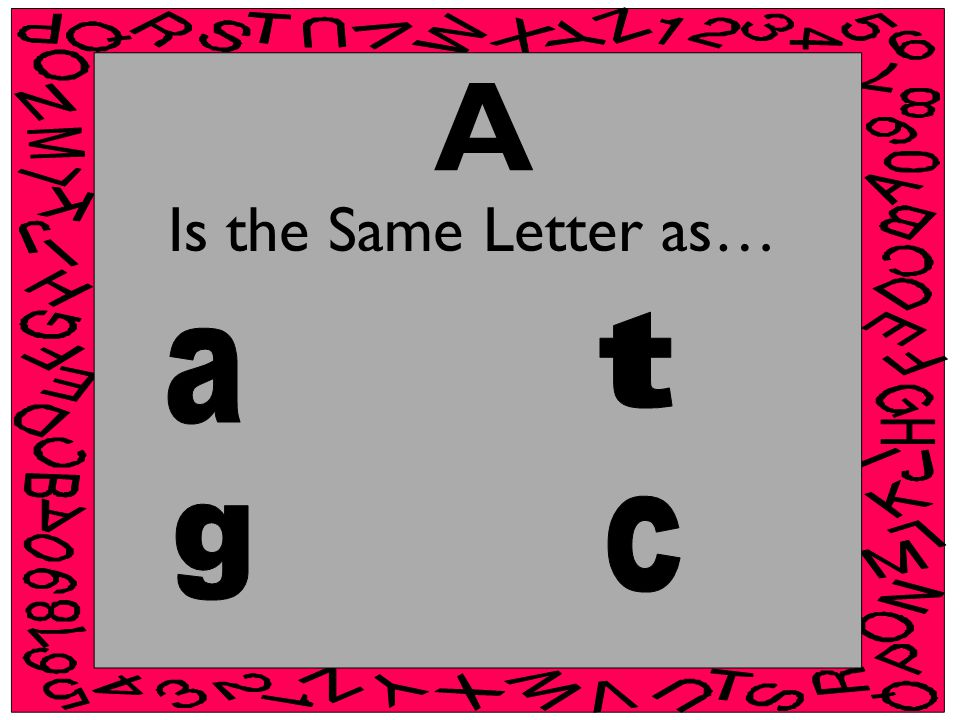 A Is the Same Letter as…