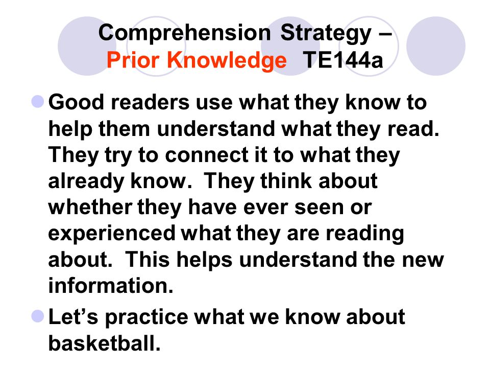 Comprehension Strategy – Prior Knowledge TE144a Good readers use what they know to help them understand what they read.