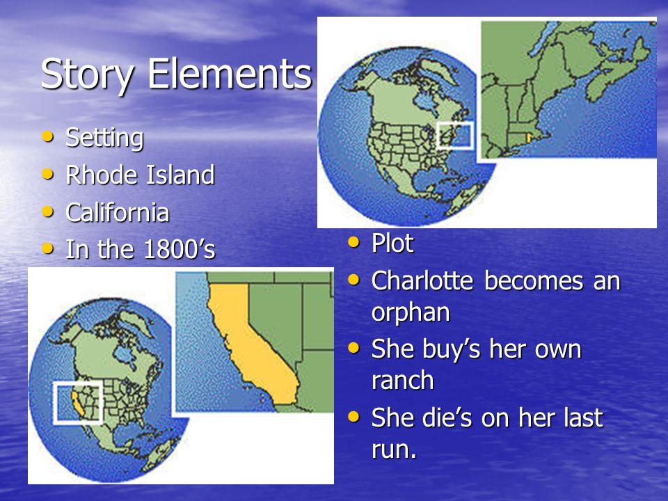 Story Elements Setting Setting Rhode Island Rhode Island California California In the 1800's In the 1800's Plot Plot Charlotte becomes an orphan Charl