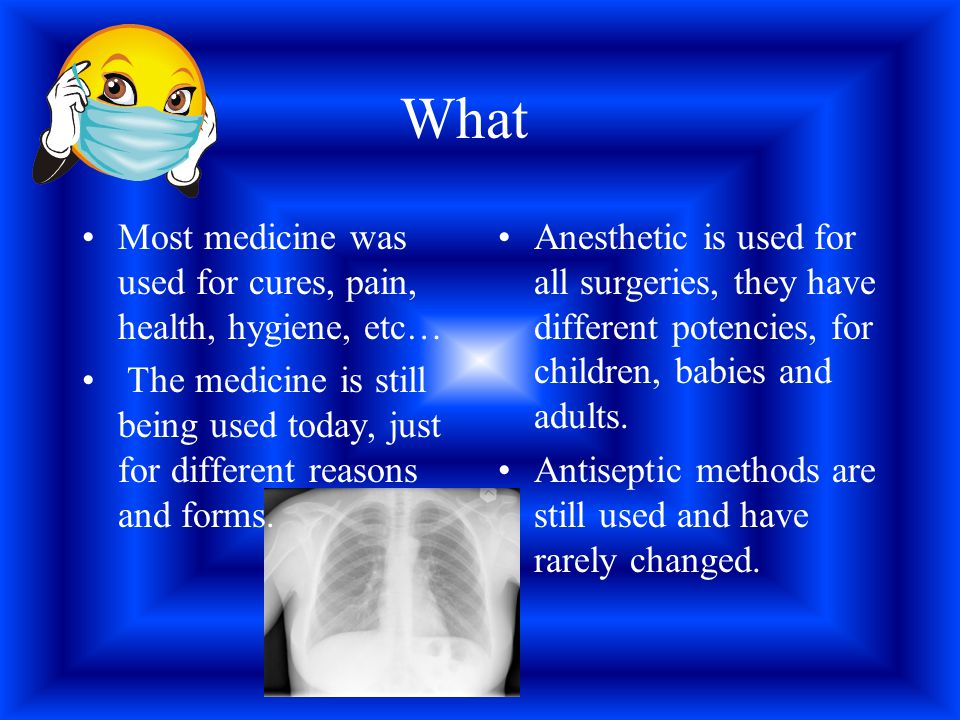 What Most medicine was used for cures, pain, health, hygiene, etc… The medicine is still being used today, just for different reasons and forms. Anest