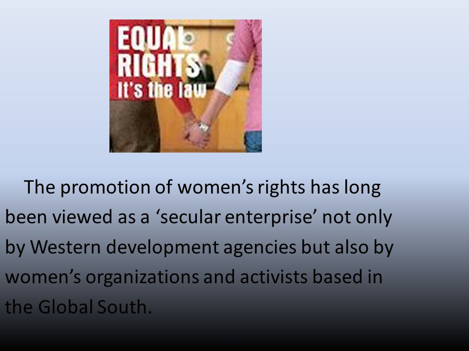 Civil riGhTs* many feminists and members of women's movements have periodically allied with religious groups or utilized religious discourses in order to promote gender equality, either as a proactive or a reactive strategy.