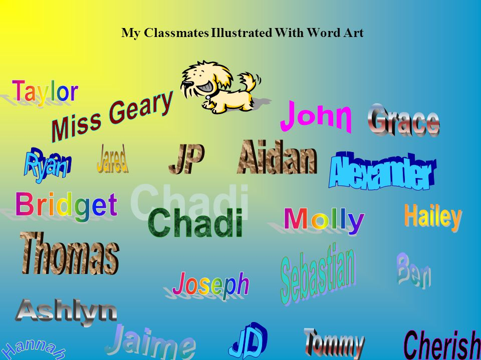 My Classmates Illustrated With Word Art