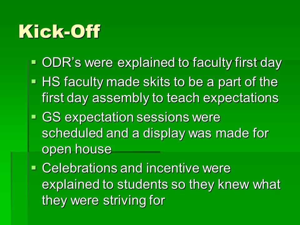 Kick-Off  ODR's were explained to faculty first day  HS faculty made skits to be a part of the first day assembly to teach expectations  GS expectation sessions were scheduled and a display was made for open house  Celebrations and incentive were explained to students so they knew what they were striving for