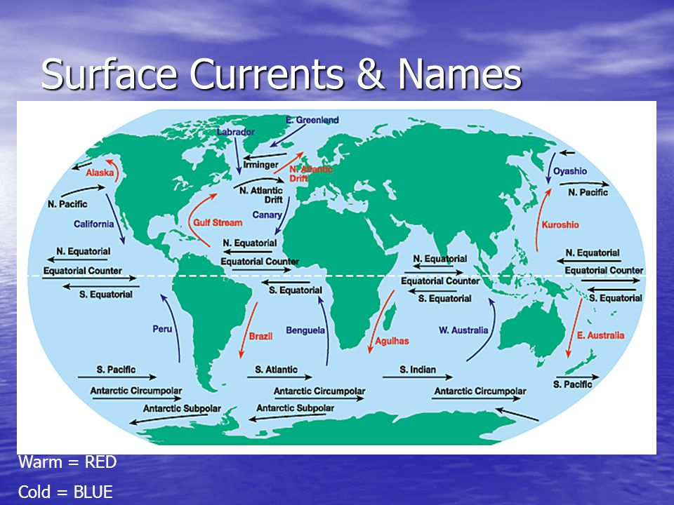 Surface Currents & Names Warm = RED Cold = BLUE